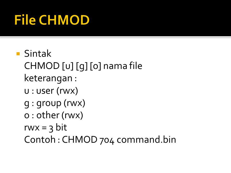 File CHMOD Sintak CHMOD [u] [g] [o] nama file keterangan :